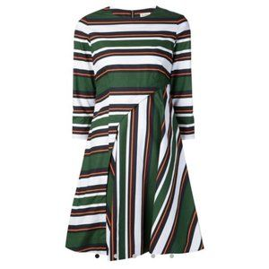 Suno Green Striped Exposed Zipper Flared Dress 0